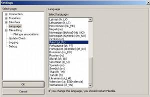 Ustawienia programu FileZilla